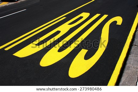 Bus sign on the road. Traffic sing for bus, bus stop sign.  - stock photo