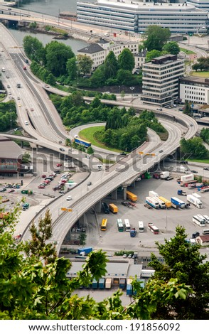Bus station in Bergen city in Norway, view from hill,  2 july 2010
