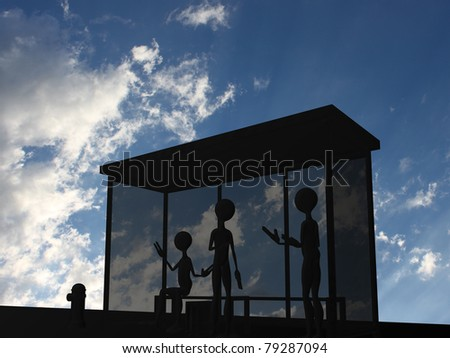 bus stop - stock photo