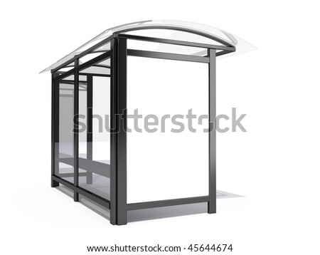 Bus stop billboard - 3d render - stock photo