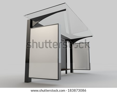 Bus stop / bus shelter / blank space for branding / 3D render - stock photo