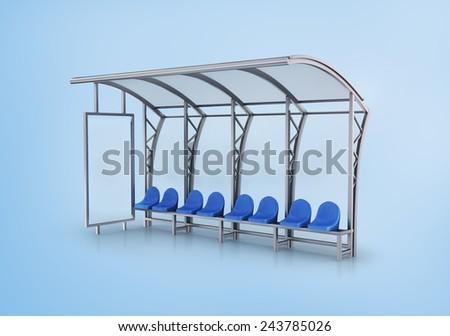 Bus stop isolated on blue background. - stock photo