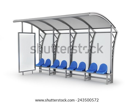 Bus stop isolated on white background. - stock photo