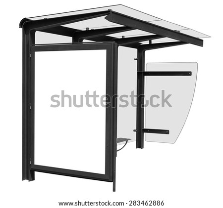Bus stop isolated on white background with blank banner. Clipping path included. - stock photo