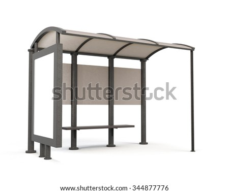 Bus stop isolated on white bcakground. 3d rendering. - stock photo