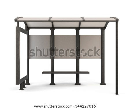 Bus stop isolated on white bcakground - front view. 3d rendering. - stock photo