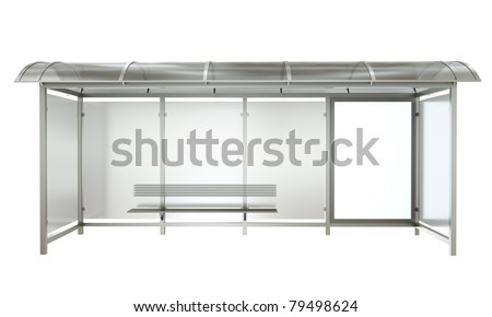 Bus stop with blank banner isolated on white background. 3D render. - stock photo