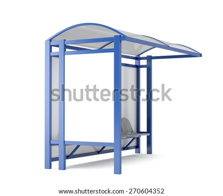 Bus stop with blank billboard on white background - stock photo