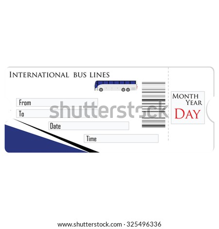 Bus ticket raster isolated, travel ticket, blank ticket - stock photo
