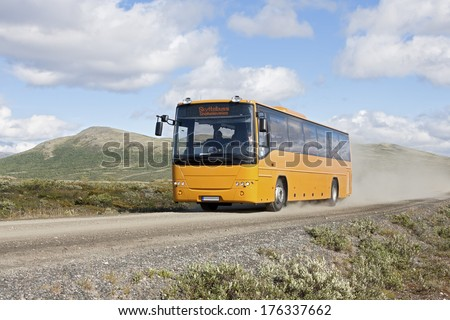 Bus to Snoheim (Dovrefjell-Sunndalsfjella National Park, Norway). People take this bus to hike to mountain Snohetta.  18-07-2013