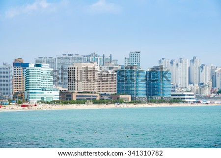 Busan, Korea - September 19, 2015: Haeundae beach is Busan's most popular beach because of its easy access from downtown Busan. And It is one of the most famous beaches in South Korea.