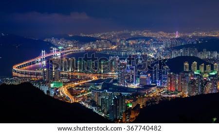 Busan, South Korea aerial view at night - stock photo