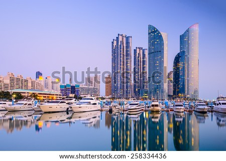 Busan, South Korea city skyline in the Haeundae district. - stock photo