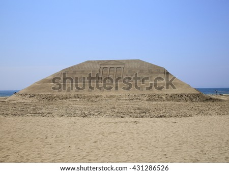 BUSAN, SOUTH KOREA - May 27, 2016: Busan Haeundae beach Sand Festival in Busan, South Korea. Haeundae beach one of the popular beaches of Busan.