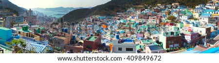 BUSAN,SOUTH KOREA -OCTOBER 26,2013:Panorama view of Gamcheon Culture Village.The area is known for its brightly painted houses, which have been restored and enhanced in recent years to attract tourism