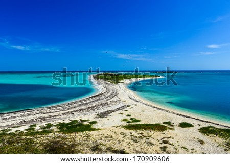Bush Key in the Dry Tortugas National Park as seen from Fort Jefferson. - stock photo