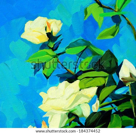 bush of white roses, painting by oil on canvas - stock photo