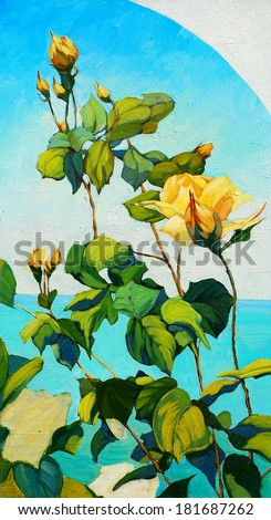 bush of white roses, painting by oil on canvas,  illustration - stock photo
