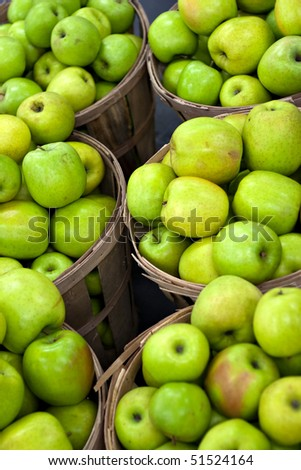 Bushels full of fresh granny smith or golden delicious green apples. Shallow depth of field. - stock photo