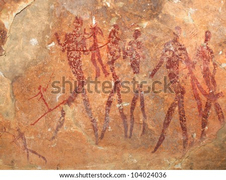 Bushmen (san) rock painting depicting human figures, South Africa - stock photo