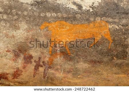 Bushmen (san) rock painting of an antelope, Karoo region, South Africa  - stock photo