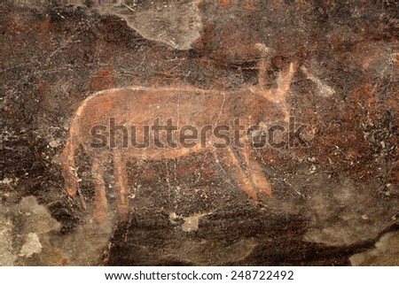 Bushmen (san) rock painting of an antelope, Karoo region, South Africa  - stock photo