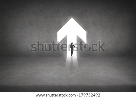 busiess and office concept - silhouette if businesswoman in the arrow - stock photo