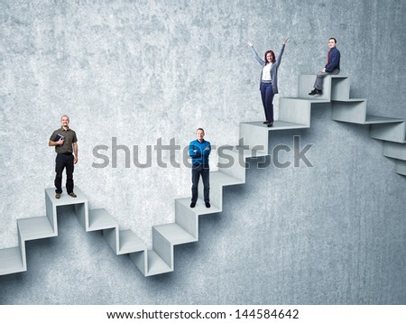 busines people on 3d abstract stair - stock photo