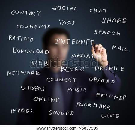 businesman writing internet and social media concept on whiteboard - stock photo