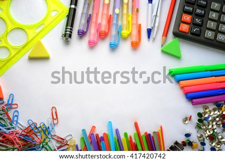 colorful office accessories. Business Accessories And Colorful Office Supplies (notebooks, Pens, Markers, Crayons, Paints D
