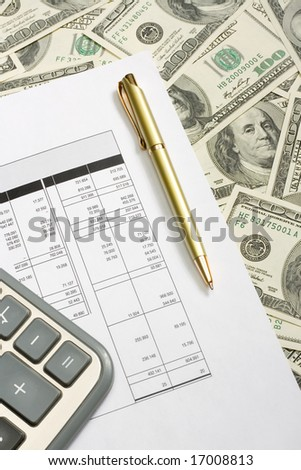 Business accessories on the $100 banknotes background - stock photo