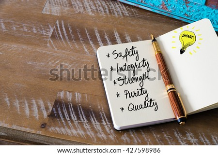 Business Acronym SISPQ Safety Integrity Strength Purity and Quality written with fountain pen on notebook. Concept image with copy space available. - stock photo