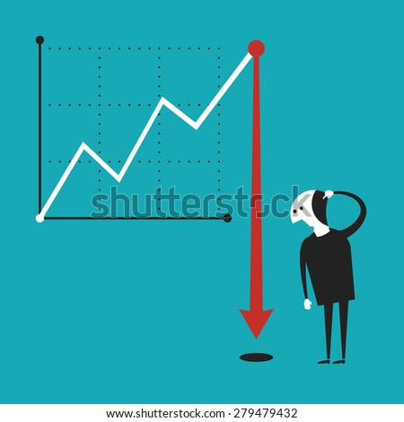 Business activity decline bitmap concept in flat cartoon style - stock photo