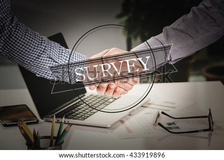 BUSINESS AGREEMENT PARTNERSHIP Survey COMMUNICATION CONCEPT - stock photo
