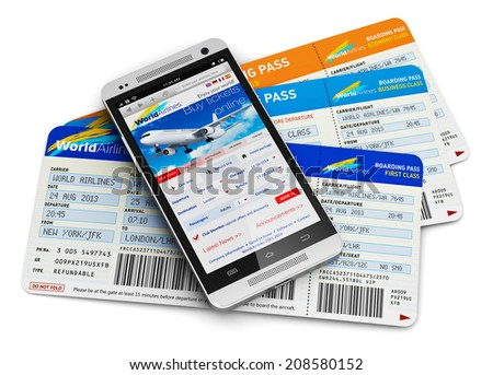 Business air travel, mobility and communication concept: smartphone or mobile phone with airline internet web site offering booking or buying airliner tickets online isolated on white background - stock photo