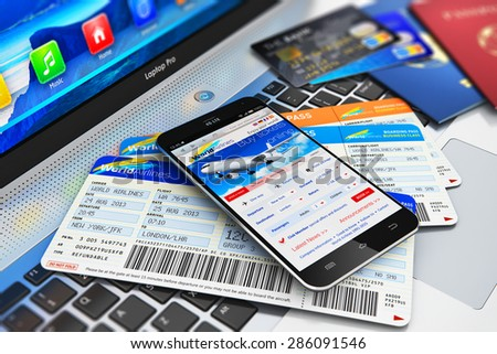 Business air travel, mobility and communication concept: smartphone or mobile phone with airline internet web site offer buying airliner tickets online, credit cards and passports on laptop keyboard - stock photo