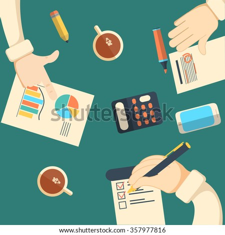 Business analytics and financial audit. Brainstorm and calculations. illustration. Team conference, brifing - stock photo