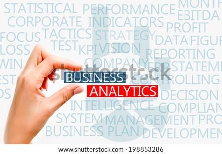 Business analytics concept text - stock photo