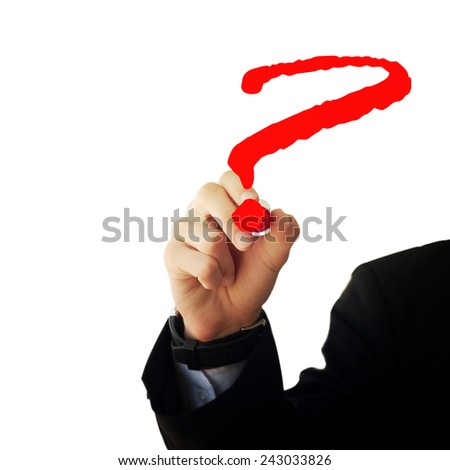 Business and advertisement concept. Close up of businessman drawing a question mark - stock photo