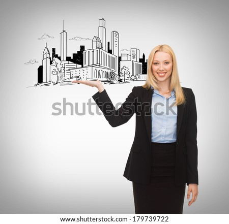 business and architecture concept - smiling woman showing city sketch on her hand