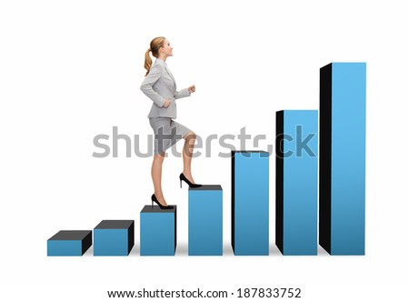 business and education concept - smiling businesswoman stepping on chart bar - stock photo