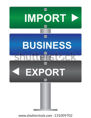 Business and Finance Concept Present By Green, Blue and Gray Street Sign Pointing to Import, Business and Export Isolated On White Background