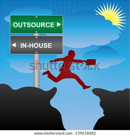 Business and Finance Concept Present By Jumping Through The Valley Gap With Green and Gray Street Sign Pointing to Outsource and In-House in Blue Sky Background - stock photo