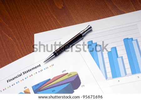Business and finance concept with graphs and charts - stock photo