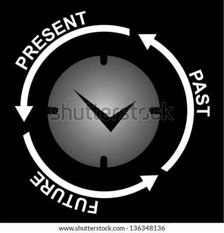 Business and Finance or Time Management Concept Present By Clock With Present, Past and Future Arrow Around Isolated on Black Background - stock photo