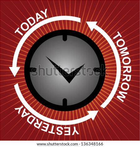 Business and Finance or Time Management Concept Present By Clock With Today, Tomorrow and Yesterday Arrow Around in Red Shiny Background - stock photo