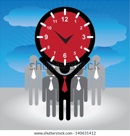 Business and Finance or Time Management Concept Present By Group of Businessman With Red Clock or Time Sign on Hand in Blue Sky Background - stock photo