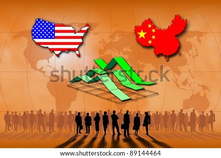 Business and finances between USA and China - stock photo
