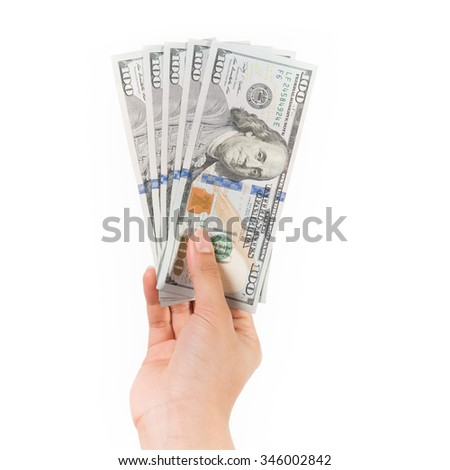 Business and Financial concept, cash or money, one hundred dollar banknotes in woman hand on isolated white background