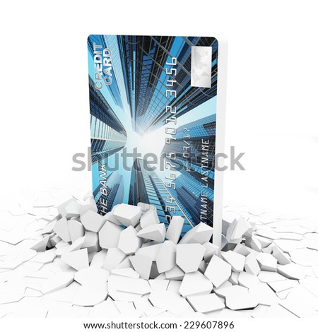 Business and Financial Concept. Credit Card Breaking Through From Concrete Floor isolated on white background